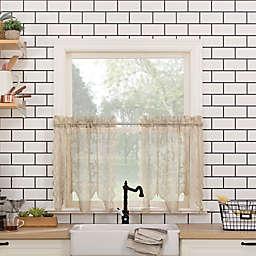 No. 918® Alison Floral Lace Kitchen Window Curtain Tier Pair