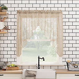 No. 918® Alison Floral Lace Kitchen Window Curtain Swag Pair