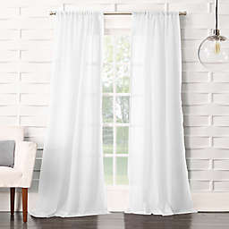 No. 918® Lourdes 120-Inch Rod Pocket Light Filtering Curtain Panel in White (Single)