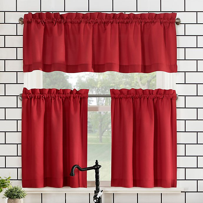 Alternate image 1 for No.918® Martine 24-Inch Window Curtain Tier Pair and Valance in Red