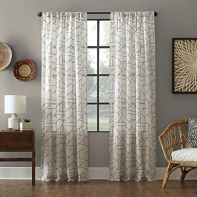 Alternate image 1 for Archaeo® Jigsaw Embroidery Linen Rod Pocket Window Curtain Panel (Single)