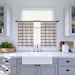 Clean Window® Twill Stripe Anti-Dust Kitchen Window Curtain Tier Pair