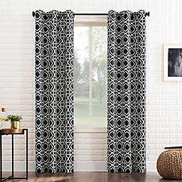 Sun Zero™ Barnett Trellis 95-Inch Grommet Room Darkening Window Curtain Panel in Black