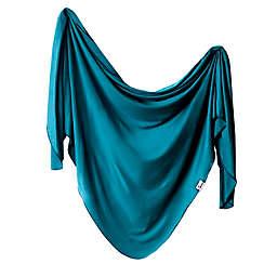 Copper Pearl Steel Knit Swaddle Blanket in Blue