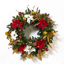 Red and Gold Natural Classic 30-Inch Pre-Lit Christmas Wreath