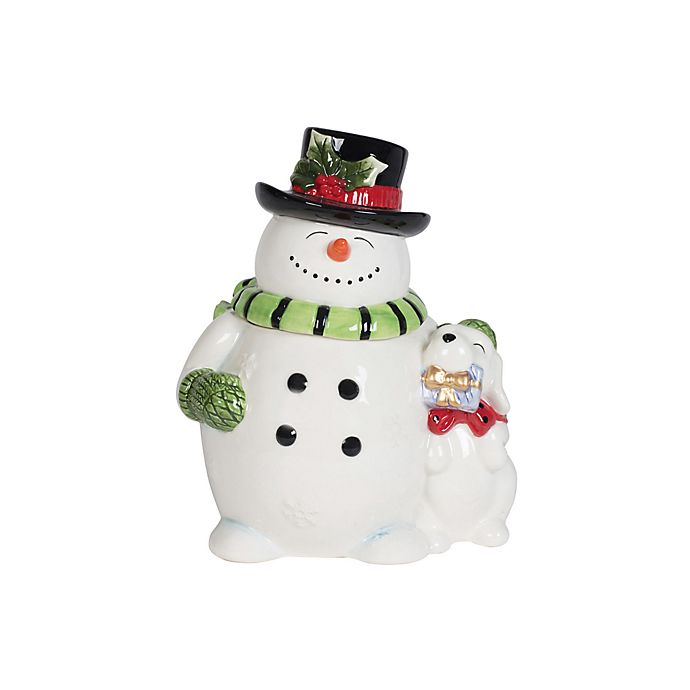 Fitz And Floyd Holly Jolly 84 Oz Snowman Cookie Jar In Red Green White Bed Bath Beyond