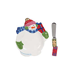 Fitz and Floyd® Holly Jolly Snowman Snack Plate with Spreader Set in Red/Green/White