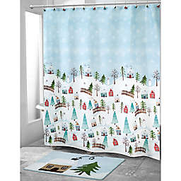 Avanti 72-Inch Square Christmas Village Shower Curtain