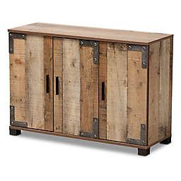 Baxton Studio Josh 3-Door Shoe Cabinet in Brown
