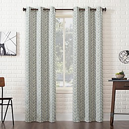 Sun Zero® Kenwood Chevron Grommet Room Darkening Window Curtain Panel in Stone
