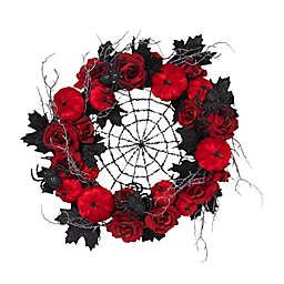 Spiderweb 24-Inch Halloween Wreath