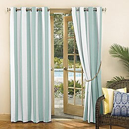 Sun Zero® Valencia Cabana Stripe Grommet Indoor/Outdoor Window Curtain Panel in Teal