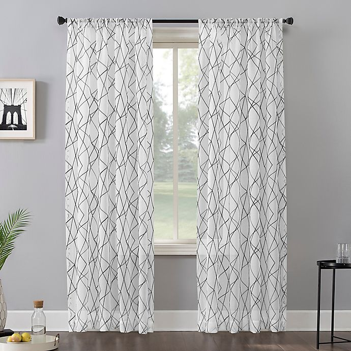 No 918 Abstract Geometric Embroidery Semi Sheer Rod Pocket Window Curtain Panel Bed Bath And Beyond Canada