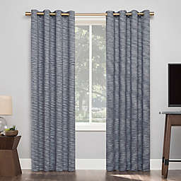 Sun Zero® Kamali Textured Strie Thermal Extreme Blackout 96-Inch Curtain in Navy (Single)
