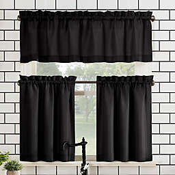 No.918® Martine 24-Inch Window Curtain Tier Pair and Valance in Black
