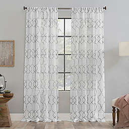 Clean Window Embroidered Trellis Anti-Dust Sheer 96-Inch Curtain Panel in Gray (Single)