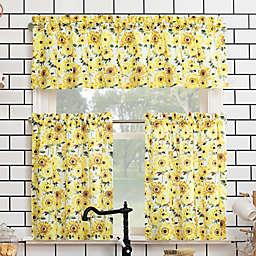 No. 918® Sunny Sunflower Kitchen Window Curtain Tier Pair and Valance