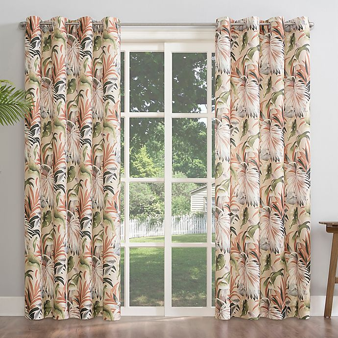 Alternate image 1 for Sun Zero® Fiji Botanical Grommet Room Darkening Window Curtain Panel