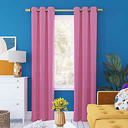 Sun Zero Harper Bright Vibes Total Blackout 96-Inch Grommet Window Curtain Panel in Pink