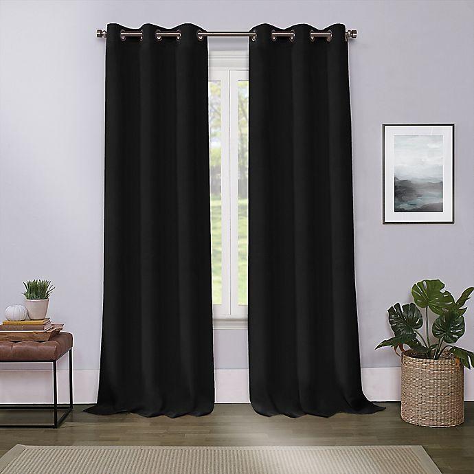 Alternate image 1 for Cameron 63-Inch Grommet Room Darkening Window Curtain Panel in Black