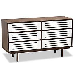 Baxton Studio Maryam 6-Drawer Dresser in Walnut/White