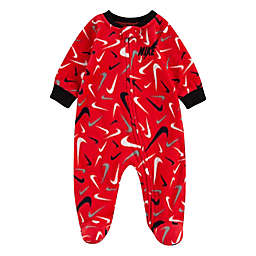 Nike® Size 3M Scribble Swoosh Footed Coverall in Red