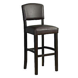 Benzara Faux Leather Upholstered Wooden Barstool in Brown