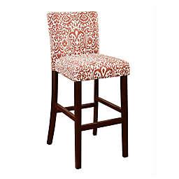 Upholstered Wooden Bar Stool in Orange/White