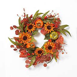Gerson 26-Inch Harvest Wreath with Pumpkins