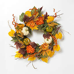 Gerson 26-Inch Multicolor Harvest Wreath with Pumpkins