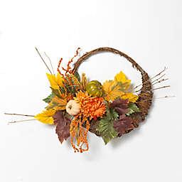 Gerson 20-Inch Cornucopia Harvest Wreath with Pumplins