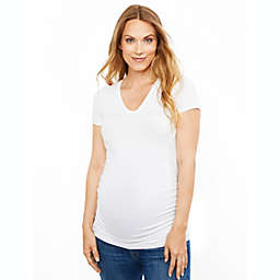 A Pea in the Pod Large Side Ruched V-Scoop Maternity T-Shirt in White