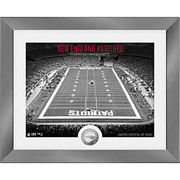 NFL New England Patriots Art Deco Stadium Photo Mint with Silver Plated Team Coin