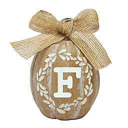 "Harvest ""F"" Mini Monogram Pumpkin Decoration in White"