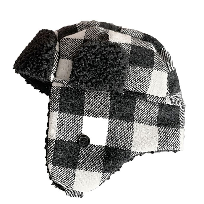 Alternate image 1 for Toby Fairy™ Buffalo Plaid Trapper Hat in Black/White