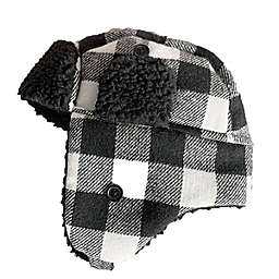 Toby Fairy™ Buffalo Plaid Trapper Hat in Black/White