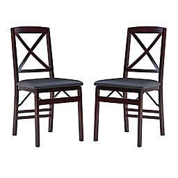 Triena X Back Folding Chairs in Espresso (Set of 2)