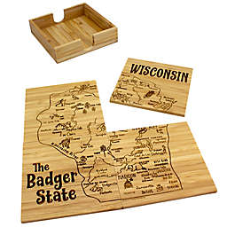 Totally Bamboo Wisconsin Puzzle 5-Piece Coaster Set