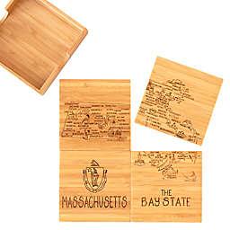 Totally Bamboo Massachusetts Puzzle 5-Piece Coaster Set