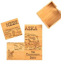 Totally Bamboo Nebraska Puzzle 5-Piece Coaster Set