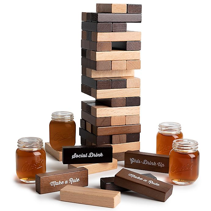 Alternate image 1 for Polished Wood Stacking Game with Shot Glasses