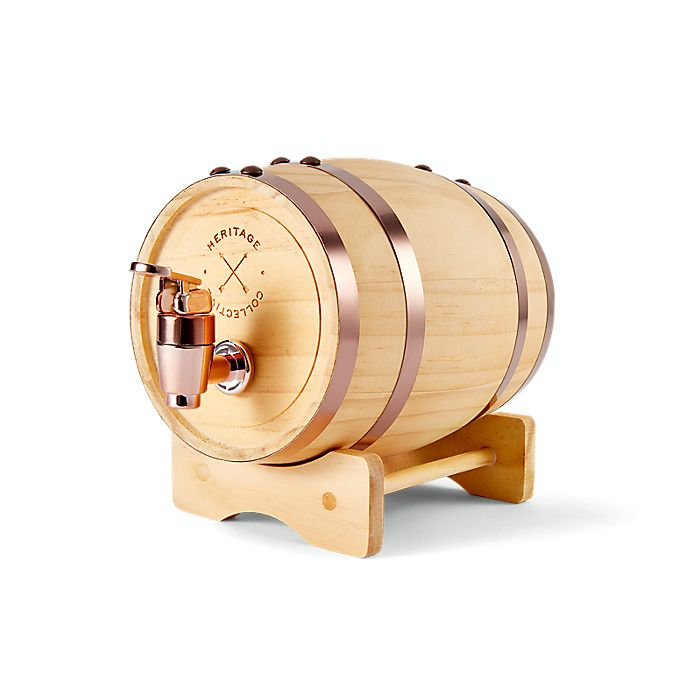 Alternate image 1 for Polished 1-Liter Whiskey Barrel Beverage Dispenser in Brown