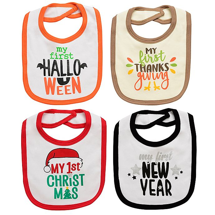 Alternate image 1 for Baby Starters® 4-Pack Fall Holiday Bibs
