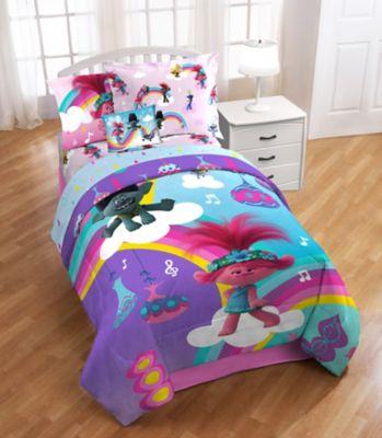 Trolls Poppy Rainbow 3 Piece Twin Full, Trolls Queen Bedding