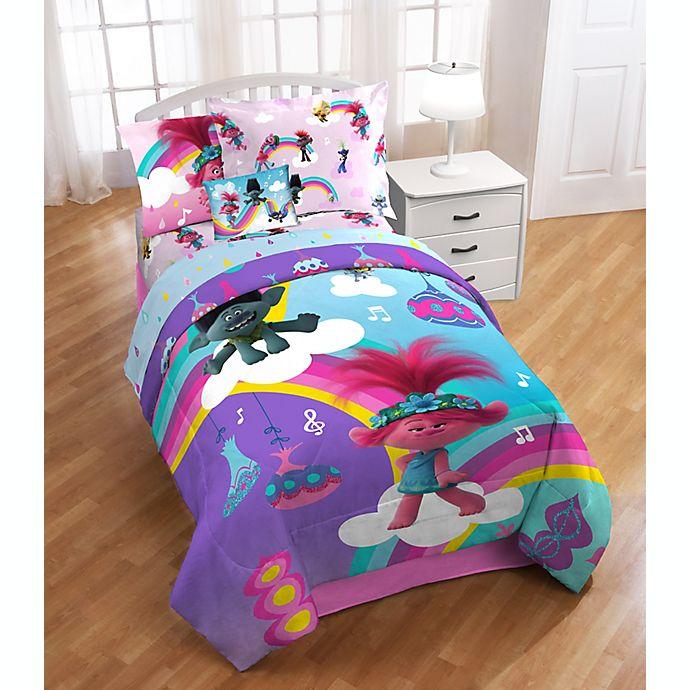 Alternate image 1 for Trolls Poppy Rainbow 3-Piece Twin/Full Comforter Set