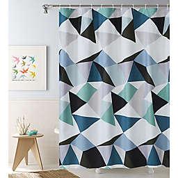 Brisbane 13-Piece Geometric Shower Curtain and Hook Set in Blue/White