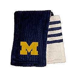 University of Michigan 60-Inch x 70-Inch Cable Knit Sherpa Throw Blanket