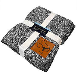 University of Texas-Austin 60-Inch x 70-Inch Luxe Knit Pattern Blanket with Faux Leather Logo
