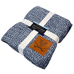 University of Virginia 60-Inch x 70-Inch Luxe Knit Pattern Blanket with Faux Leather Logo