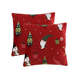 Happy Gnomes Plush Square Throw Pillows in Red (Set of 2)